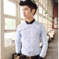 Personalized scissors pattern printing money men's casual long-sleeved shirt 2014 new fashion Slim cotton shirt men shipping