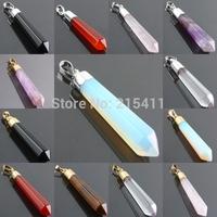 1Pc Carnelian Black Agate Amethyst Rose Quartz Opal Tiger's Eye Gem Stone Healing Chakra Pendant Charms Jewelry