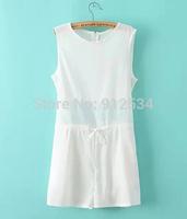 2014 summer new dress jumpsuits Net yarn chiffon stitching conjoined shorts Pure color sleeveless chiffon unlined upper garment