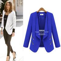 2014 autumn and winter new fashion European style women's blazer zipper long sleeve slim waist office ladies blazers 9617