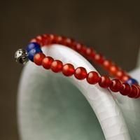 High Quality Wholesale bangle 6 mm natural precious stone charming fashion red agate bracelet with Lapis Lazuli stone
