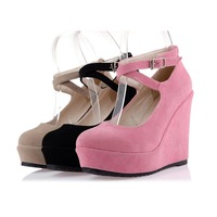 MEMOO 2014 Spring/Autumn Women Pumps Fashion High Heel Sweet word-type buckle shoes with a single slope US Size4-12 A4028