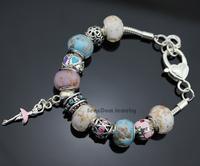 Dancing Girl Ballerina Pendants CZ Stone Flowers Charms European Glass Beads 925 Silver Bracelet+Gift Pouch PBS024