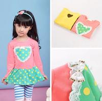 5 Pieces/lot Cotton Girl's Dress Girls Bow Dot Heart Long Sleeve Tunic Dresses
