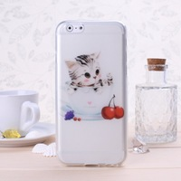 Special Offer TPU Soft  Phone Case With  Lovely Cat Paterrn For iphone 6 Solid Color Free Shipping