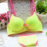 Brief solid color glossy thin thick sexy young girl underwear bra set