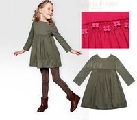2014 new Top Brand autumn and winter 4 colors children clothing girls long sleeve dress 2-12T waist with flowers high quality
