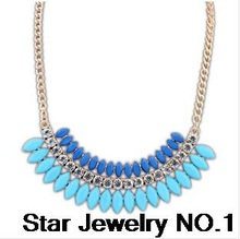 Star Jewelry SALE 2014 New Gold Plated Elegant Drop Crystal Choker Necklace Women Statement necklaces & pendants Gift