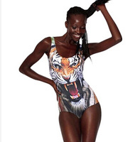 2013 New SEXY Swimwear Womens European 3D Print Tiger Swimsuit One Piece Digital Print Backless Wetsuit Free Shipping S3
