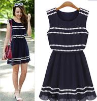 summer 2014 new fashion casual Good quality  Famous brand dress  Plus Size Navy blue round neck sleeveless Lac Chiffon Dress