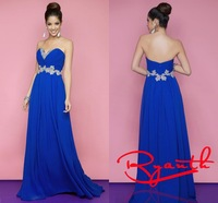 RBC 749 Hot Selling Long Chiffon Evening Dresses 2014 Crystal Belt Vestidos De Festa Vestido Longo Prom Gowns