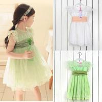 Princess Kids Baby Girls Dress Full Lace Lotus Leaf Sleeve Bow Belt Tutu Dress  Free&DropShipping