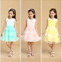 Kids Girl Princess One Piece Dress Lapel Bow Tutu Dress Party Costume Size 2-9Y  Free&DropShipping