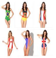 England,Brazil,Spanish,Germany,France,Canada,American Flag One Piece Swimsuit Print Molden Bathing Suit Swimwear for Women S4
