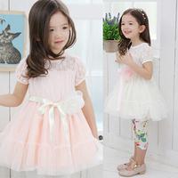 Kid Baby Girls Chiffon Gauze Lace Bow-Knot Belt Flower Tutu Dress  Party Dress Free&DropShipping