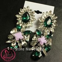 Women's fashion earrings brand crystal dangle earringsFlowers senior alloy copper mosaic glass Crystal Earrings for woman