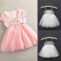 Toddler Girls 2pcs Lace Shawl Straps Tutu Dress Princess Dress 1-5Y 2 Colors Free&DropShipping