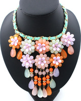 2014 New Fashion Twisted Rope Chain multicolor Resin Flower and water drop Women Necklaces & Pendants statement choker necklace