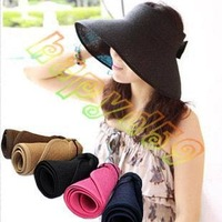 free ship 1pcs fashion lady hollow bow summer hats UV sun cap woman beach visor hat large brimmed straw hat foldable