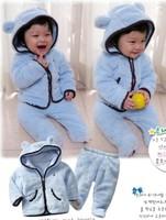 2014 G autumn winter Infant Baby Plush Clothing suit hooded fleece coat+pants children's clothing set wholesale free shipping