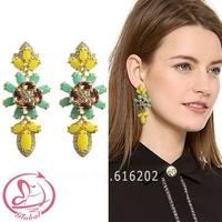 Women's fashion brand earrings new mosaic Czech crystal drill copper claw Gem Flower Earrings exaggerated retro Earrings