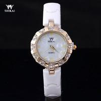 Hot- Freeshipping Bracelet Ceramic Watch Ladies Dress Rhinestone Watch Quartz Watches