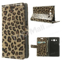 Free shipping 1pc/tvc-mall Glossy Leopard Skin Leather Wallet Stand Cover for Samsung Galaxy Core II Dual SIM G355H
