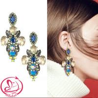 Women's fashion brand earrings JCR copper claw set faceted crystal earring blue colorful luxury Earrings drop earrings female