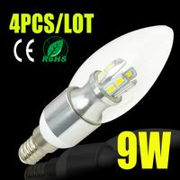 4pcs/lot high quality led candle light 3w/5w/7w/9W led chandelier 220v 230v 240v led lamps 180/360degree beam angle  5730 smd