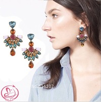 Women's fashion brand earrings JCR Copper claw set faceted crystal eatrringd drilling sector exaggerated Earrings for women