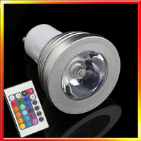 RGB LED Bulb 3W GU10 E27 Cup Bulb Color Change Lamp Spotlight 110V-220V with IR Remote led spot Free shipping