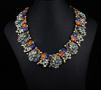 2014 New Za Brand Shourouk Fashion Crystal Necklaces & Pendants Costume Chunky Choker Collar Necklace Statement Jewelry 9016