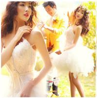 D126 vestido de noiva 2014  fashionable short mini feathers sweetheart wedding dresses bride ball gowns dress