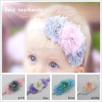 Baby headband Infant girls flower headbands shabby chiffon tulle hairband Newborn toddle shabby chic roses headband 20pcs