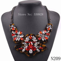 fashion 2014 new black chain big leopard print crystal statement chunky necklace for sexy women jewelry