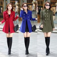 Winter Plus size women clothing XXL Slim Mandarin Collar Wool&Blends Long Full sleeve Double Breasted Coats&Jackets Spliced 719J