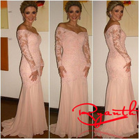 RBC 754 Modest Long Sleeve Evening Dresses 2014 New Arrival Lace Mermaid Prom Dress Pink Vestido De Formatura