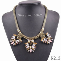 fashion 2014 hot sale vintage gold chain cheap crystal pendant necklace for women statement jewelry