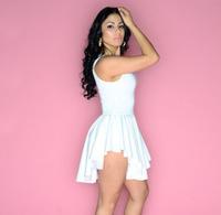Summer Dress 2014 Solid White Plus Size Sundress Women Ladies Female Vest Noverty Tank Dress High Quality Women's Clothing XL