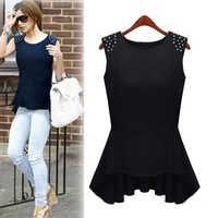 Fashion Cool Girl Sleeveless Slim Waist Body Cotton T-Shirt Unique Design Rivets Decorated Desigual Long Shirt Women 858