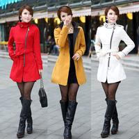 Winter Slim Wool & Blends Waistband Mandarin Collar Long Full sleeve Zipper Thick Overcoat Coats & Jackets Women's Clothing 719K
