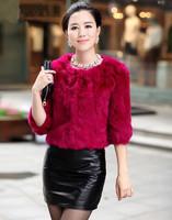 2014 New Women Winter Genuine Natural Real Rabbit Fur Coat Short Design Parka Jacket Coat Outerwear