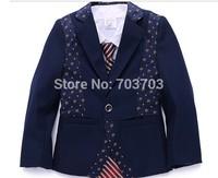 2014 Navy blue children boy Wedding suits Formal Party Tuxedo suit Groom Jacket+Pants+bow tie/necktie+vest+Dress shirt 5 pcs set