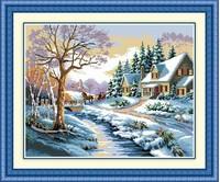 Winter snow Flower gardon house cross stitch kit season cotton thread embroidery DIY handmade needlework set wall home decor