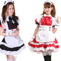 Sexy Girl Costume Maid Cosplay Full Dress Ruffle Lori Maid outfit Party Apron Black Red Dress Set Free shipping