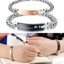 Wholesale 2015 New  fashion jewelry Romantic Valentine gift  True love exquisite Zircon Titanium Steel Bracelet CG718
