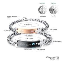delicate Wholesale 2015 New fashion jewelry Romantic Valentine gift True love exquisite Zircon Titanium Steel Bracelet
