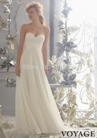 New Fashionable Sweetheart Beaded Lace Chiffon Bridal Gown Custom Made A-Line Sleeveless Long Formal Beach Wedding Dress 2014