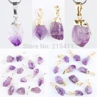 1Pc Natural Amethyst Quartz Amorphous Gem Stone Chakra Healing Charms Pendant Fit Necklace