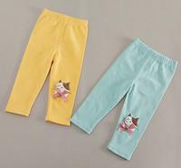 2014 New,baby girls cotton leggings,children spring/autumn pants,cat pattern,bow,5 pcs / lot,wholesale kids clothing,1551